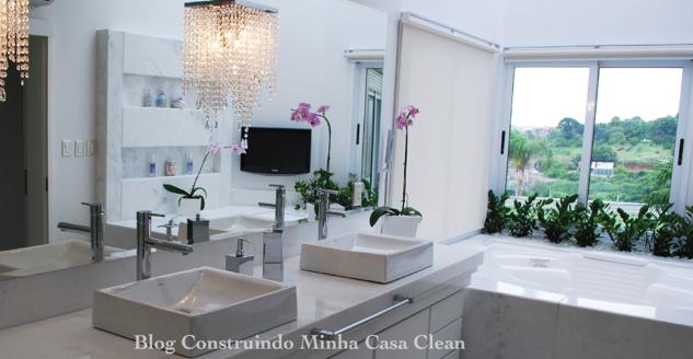 Construindo Minha Casa Clean Banheiros e Lavabos com Jardins de