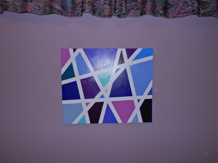 Abstract painted canvas art in blues and purples