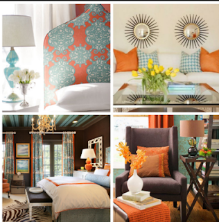 Orange and turquiose headboard, curtains and pillows