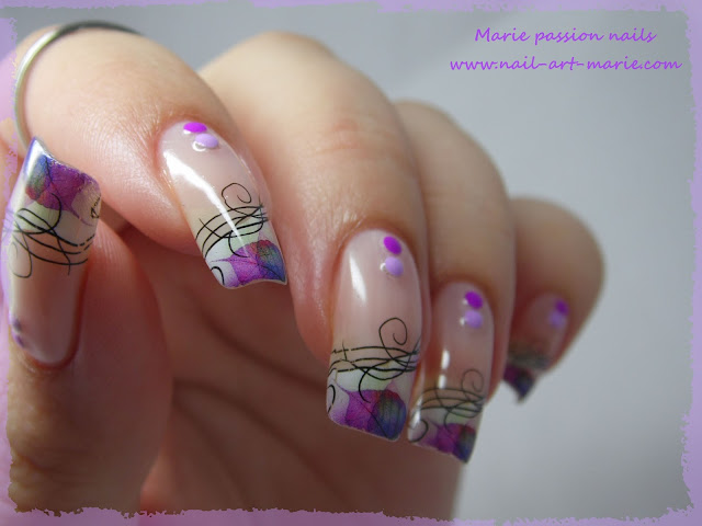 Nail Art Water décals french violette4