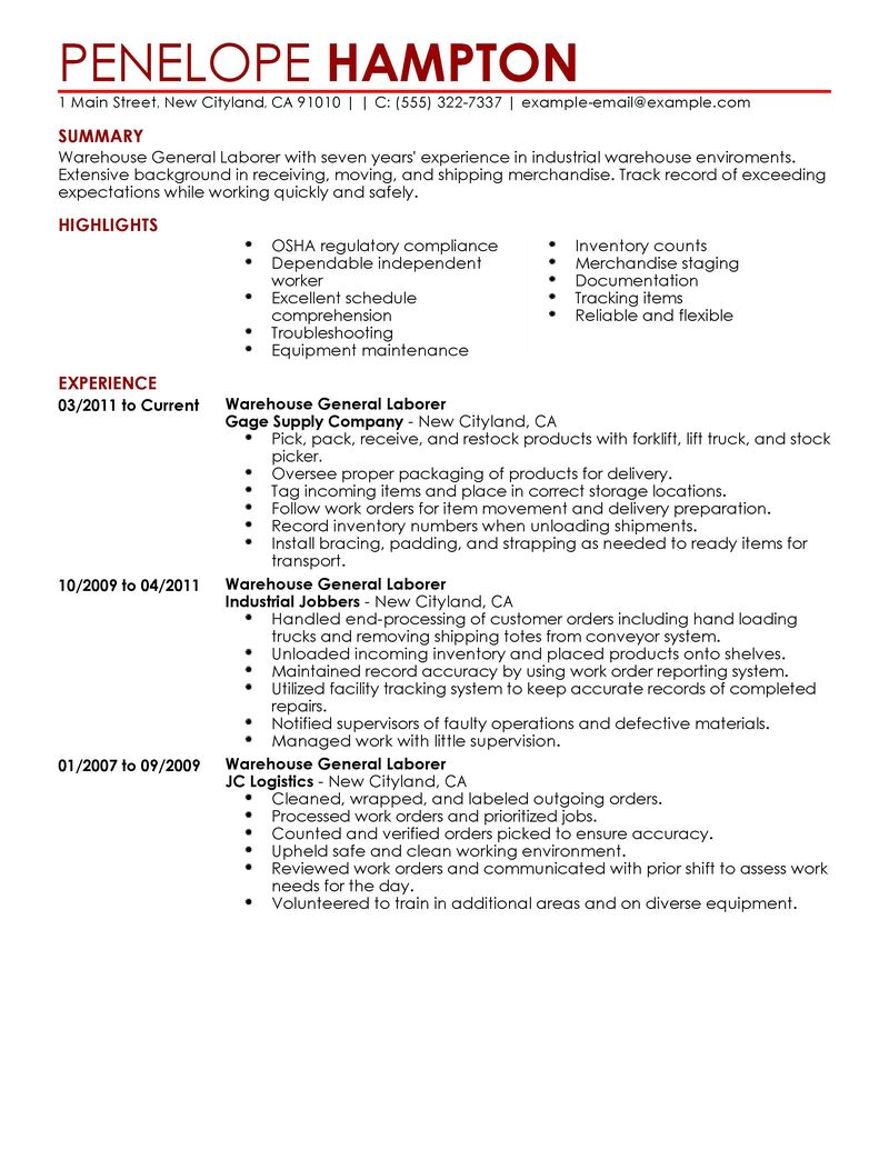 working resume