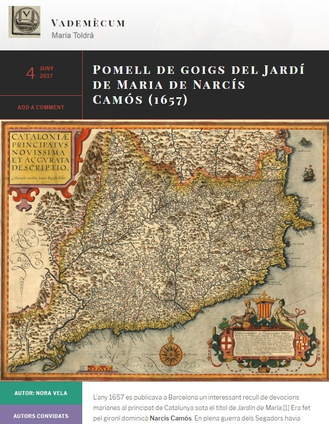 Pomell de goigs del Jardí de Maria de Narcís Camós (1657)
