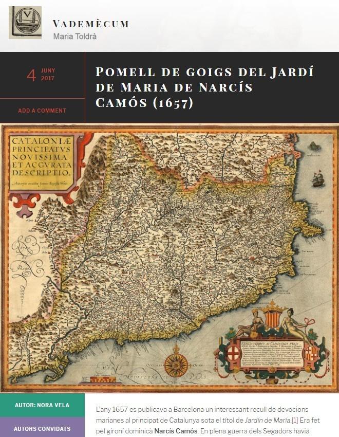 Pomell de goigs del Jardí de Maria de Narcís Camós (1657)