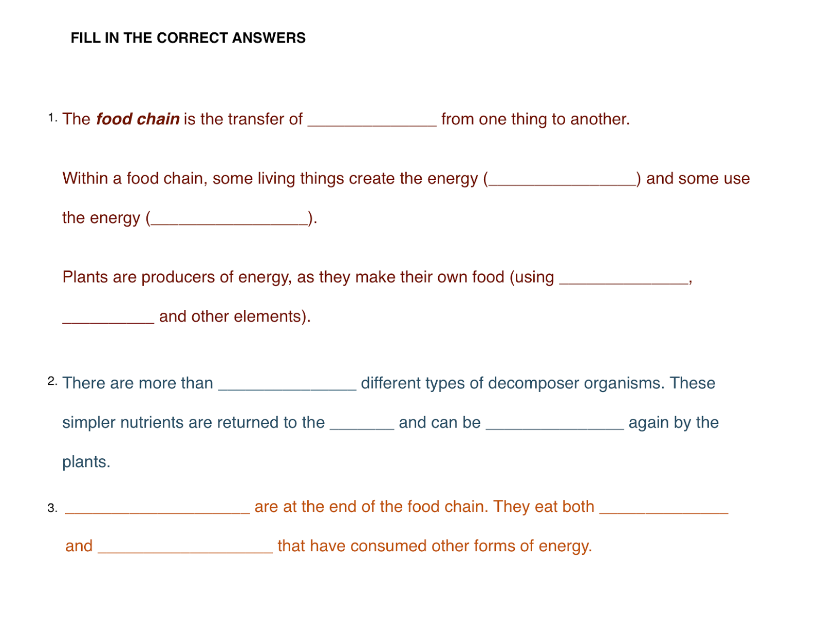 Food chain cards go to  saveteacherssundays comscience year 4 lesson 1 chains worksheets plans and other primary teaching resources