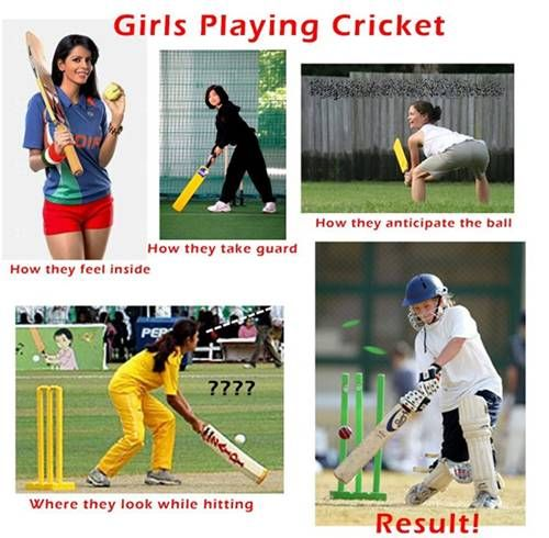 When Girl Playing Cricket Funny Picture