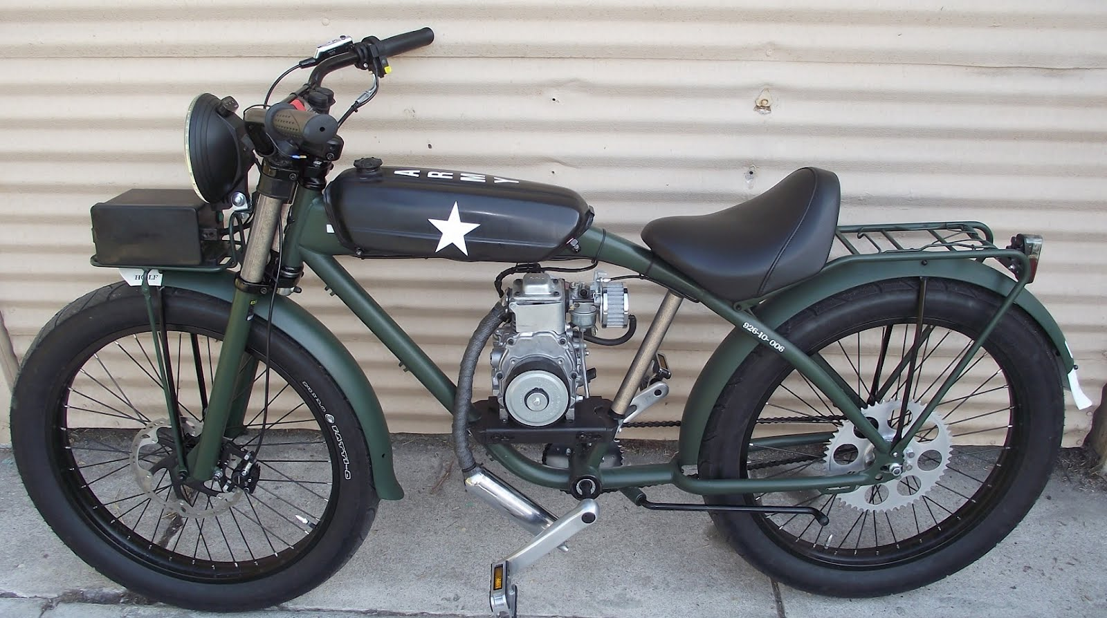 Felt mp 49cc of u s army fury motorized bicycle for Motor assisted bicycle kit