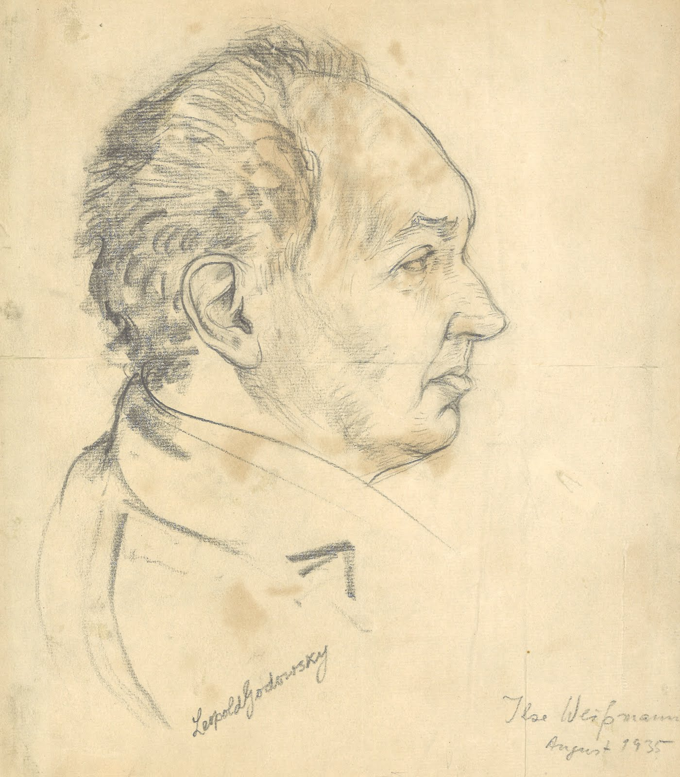 Autographed original illustration of Pianist Leopold Godowsky