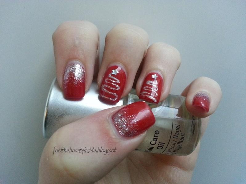 Feel The Beauty Inside Nageldesign Weihnachten Rot Mit Silber Glitzer Und Tannenbaum