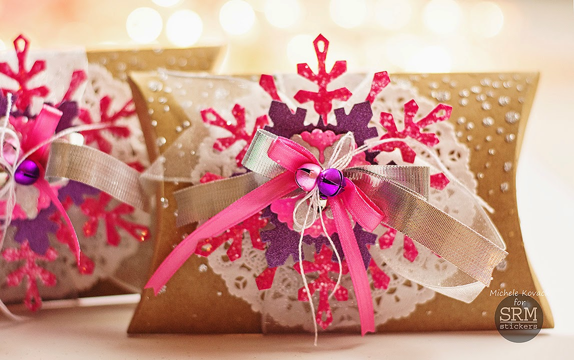 SRM Stickers Blog - Christmas Pillow Boxes by Michele - #christmas #doilies #giftbox #kraftpillowbox #punchedpieces #DIY