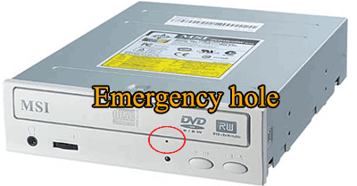 dvd emergency hole