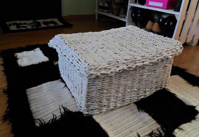 Zamykane pudełko na szaliki z papierowej wikliny DIY // Paper wicker box DIY