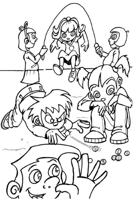 صورة اطفال يلعبون العديد من العاب نط الحبل والبنانير للتلوين