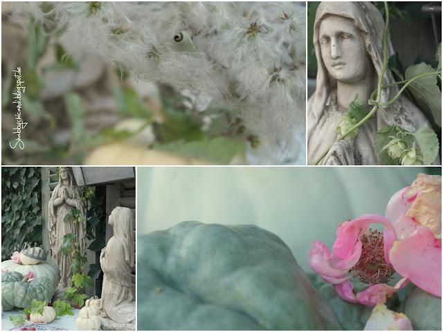 Collage mit antiker Madonna und Herbstdekoration