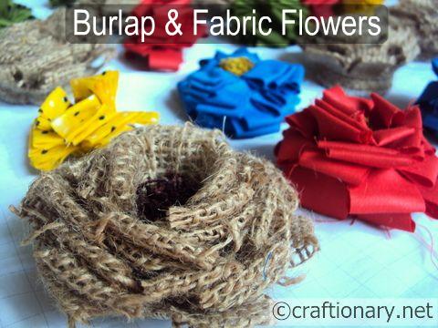 мешковины, джута, цветы ручной работы