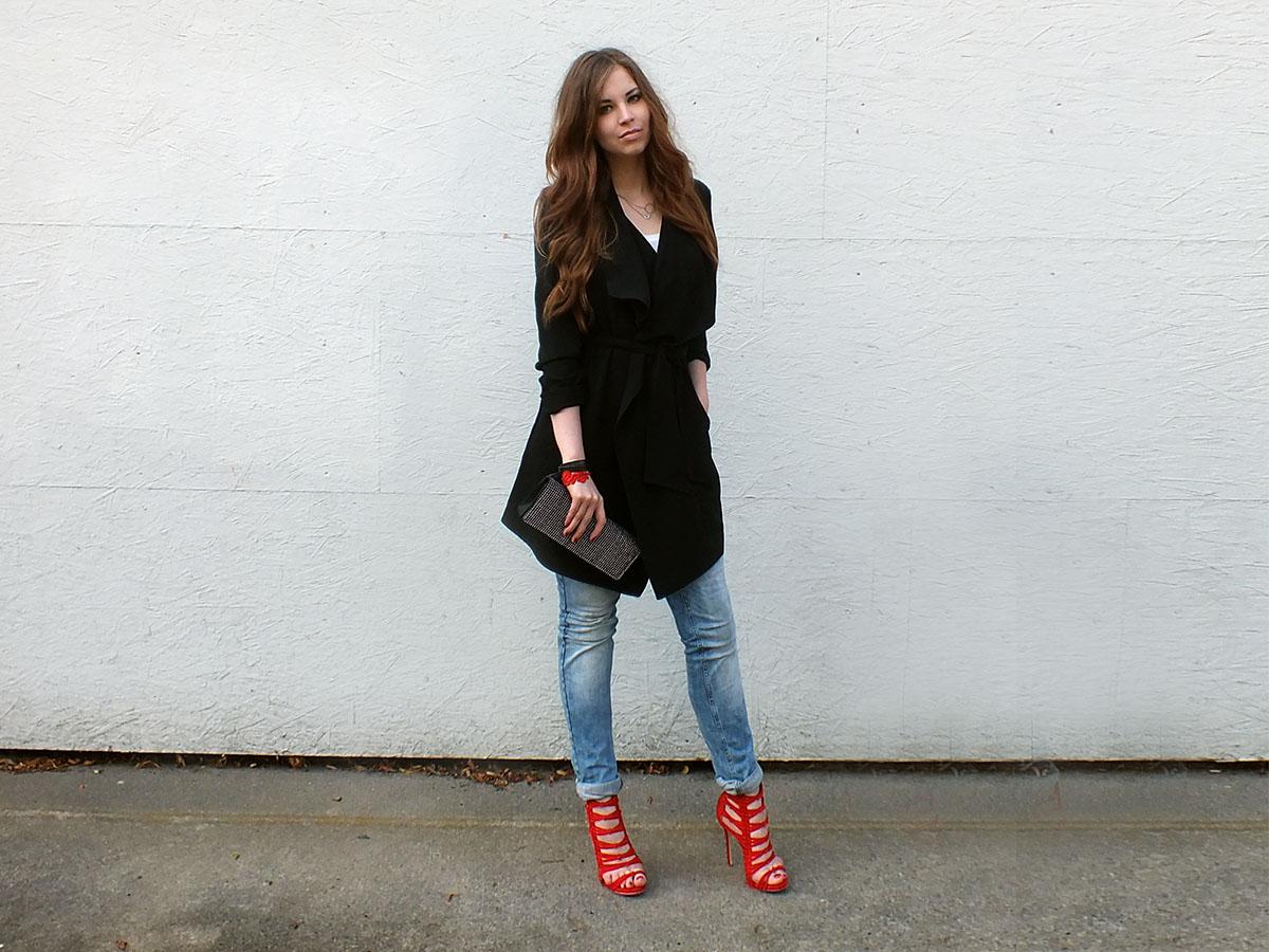 fashion love black trench red heels. Black Bedroom Furniture Sets. Home Design Ideas