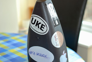 fluke ukulele back with stickers