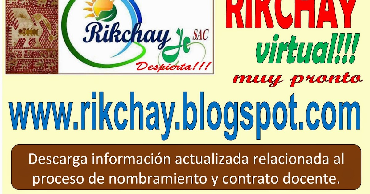 Organizaci n educativa rikchay jc descarga plazas de for Plazas disponibles para el concurso docente 2016