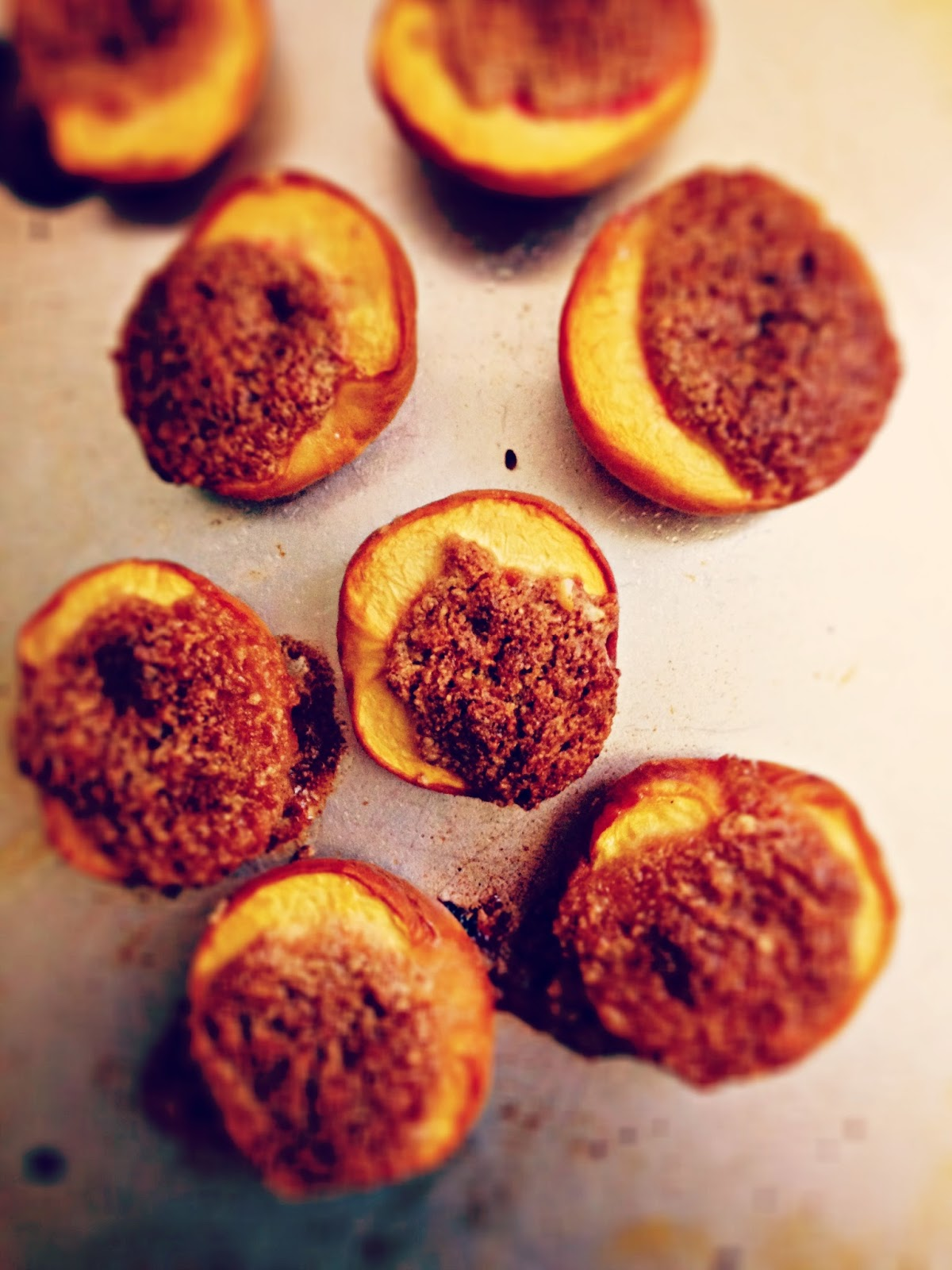 the cut peaches, and roast until the crust is golden and the fruit ...
