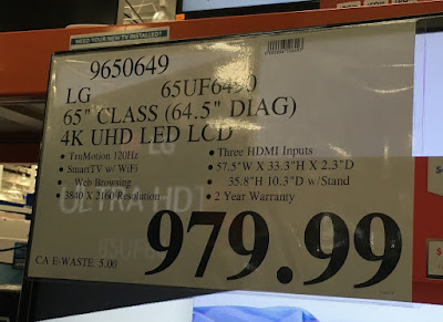 Deal for the LG 65UF6490 65 inch tv at Costco