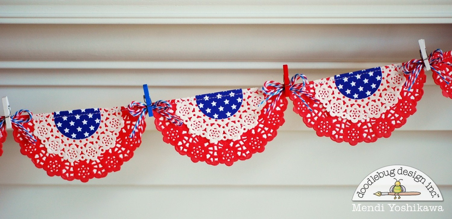doilies use for a patriotic bunting or layout