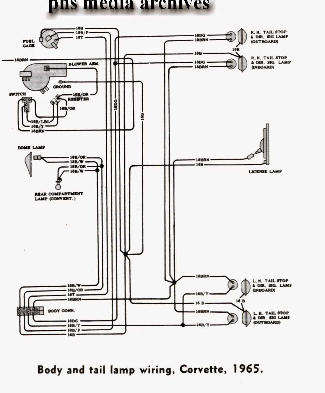 vette%2Btail%2Blmp tech series 1965 chevrolet corvette wiring diagrams, engine, fuse Simple Electrical Wiring Diagrams at fashall.co