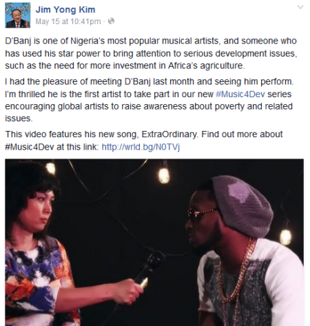 President of World Bank, Jim Yong Kim, commends D'banj