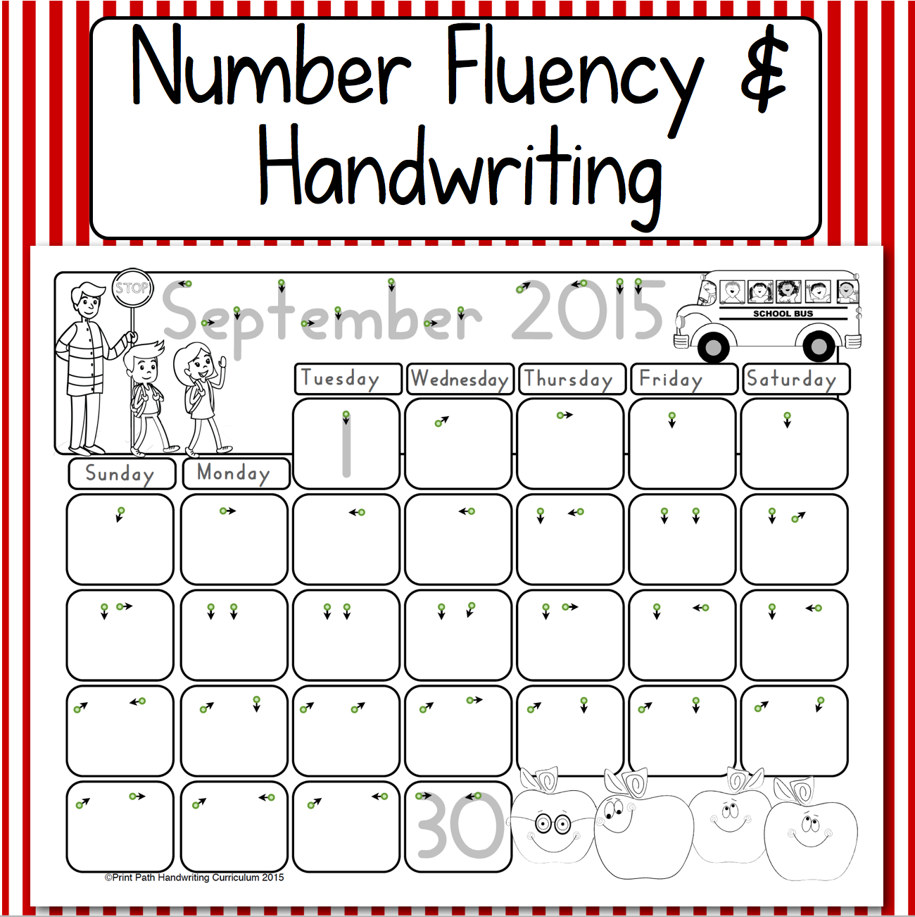 Using Calendars for Number Fluency and Handwriting Skills. Pre-K, K ...