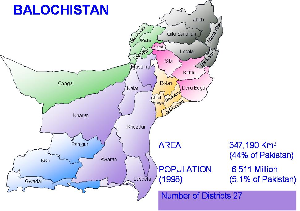 history of balochistan distic wise Is the history of institutional development in predominantly baloch and pashtun ' tribal'  the dera bugti district of balochistan led gas production in pakistan for   24 a stage-wise plan for the conversion of most of the 'b' areas into 'a' areas.
