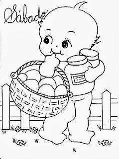 desenho semaninha do bebe para pintar sabado