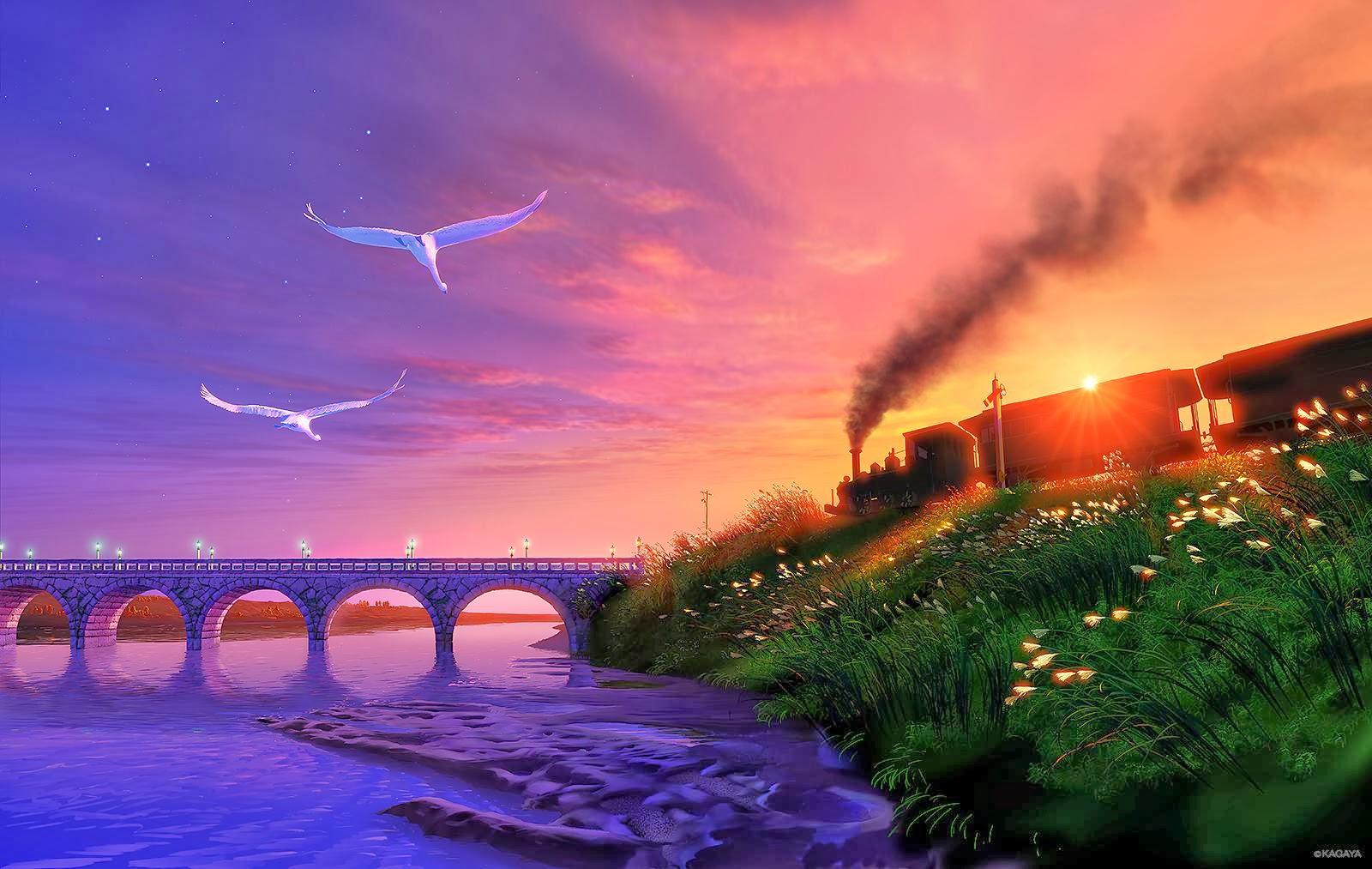 Kagaya Yutaka • Fondo de Pantalla • Puente, gaviotas, tren, amanecer