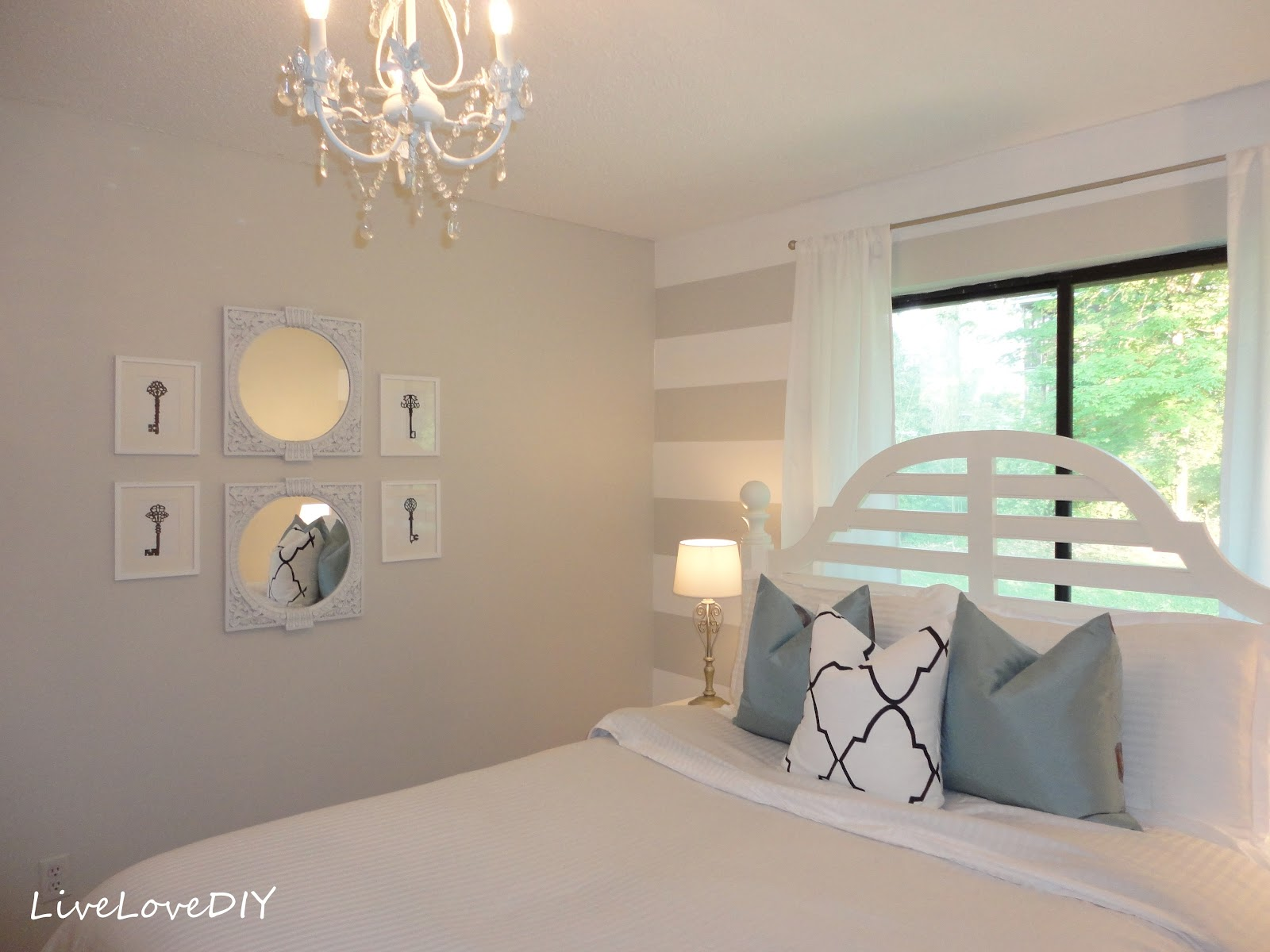 LiveLoveDIY DIY Striped Wall Guest Bedroom Makeover - Striped accent walls bedrooms