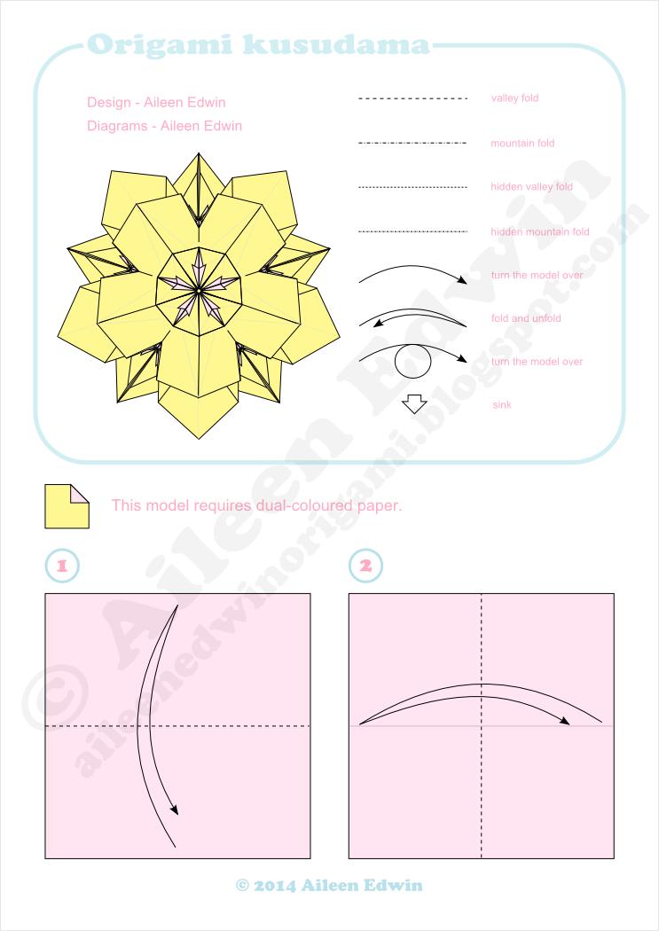 Origami Kusudama Diagrams Dual-Coloured (Aileen Edwin)