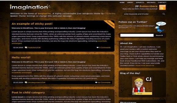 Brown WordPress Themes Imagination Brown Magazine Wordpress Theme