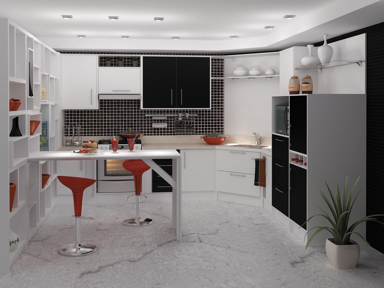 #683830 Cozinhas Planejadas em Preto e Branco Bella Kaza Móveis Planejados  1600x1200 px Projetos De Cozinhas Planejadas Italinea #709 imagens