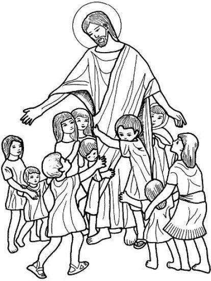 Dibujo Para Colorear De Jesus Con Los Ninos