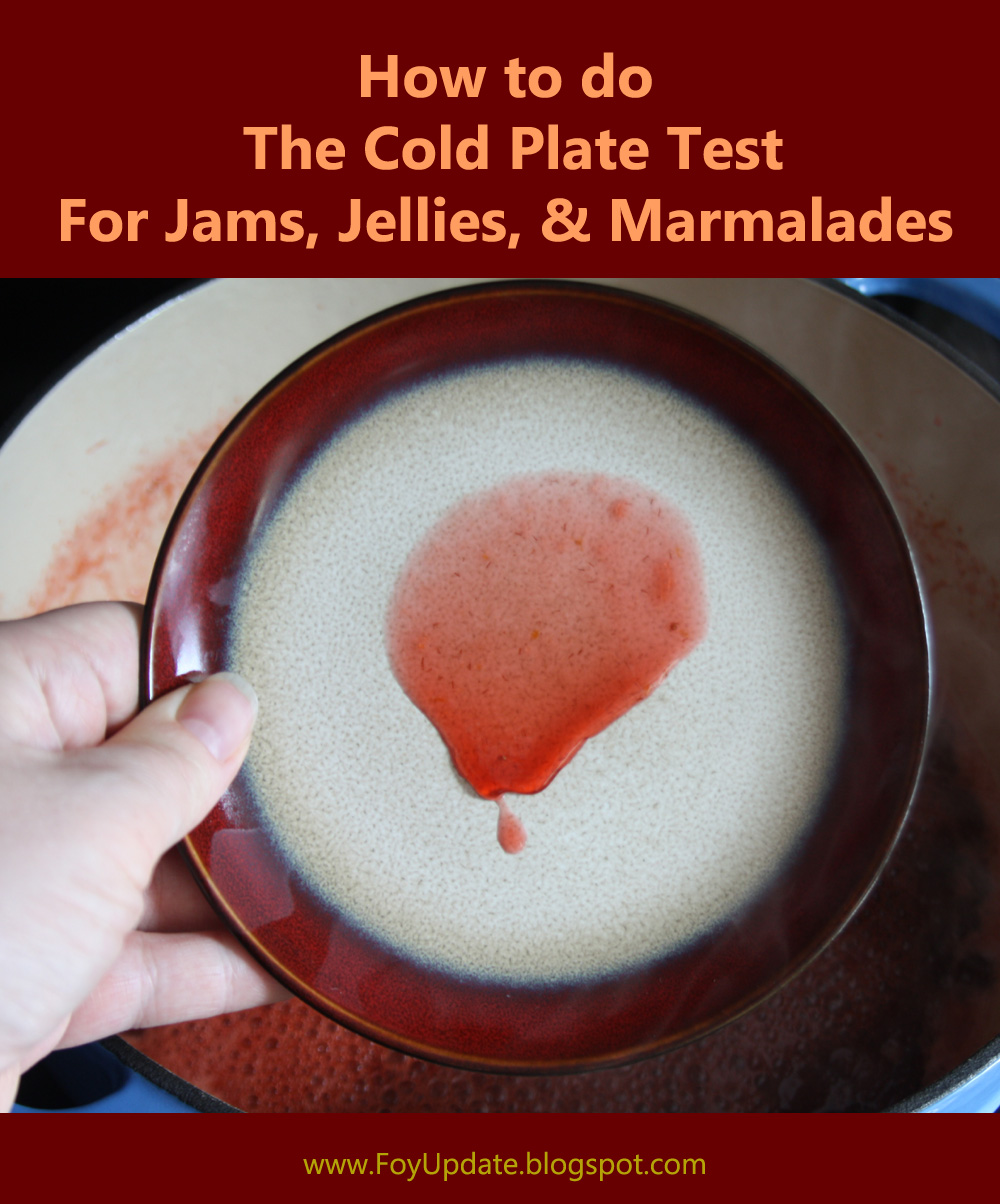 A photo guide for how to do the cold Plate test for jams, jellies and marmalades from Foy Update