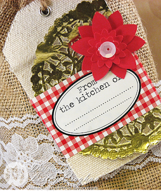 SRM Stickers Blog - Homespun Hostess Gifts by Lesley - #giftbag #christmas #burlapbgag #fancysentiments #stickers #lace  #llabelsbythedozen #golddoilies #gold #doilies #canvas #tags #DIY