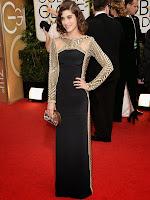Лизи Каплан в елегантна рокля с дълъг ръкав на Emilio Pucci - Златен глобус 2014