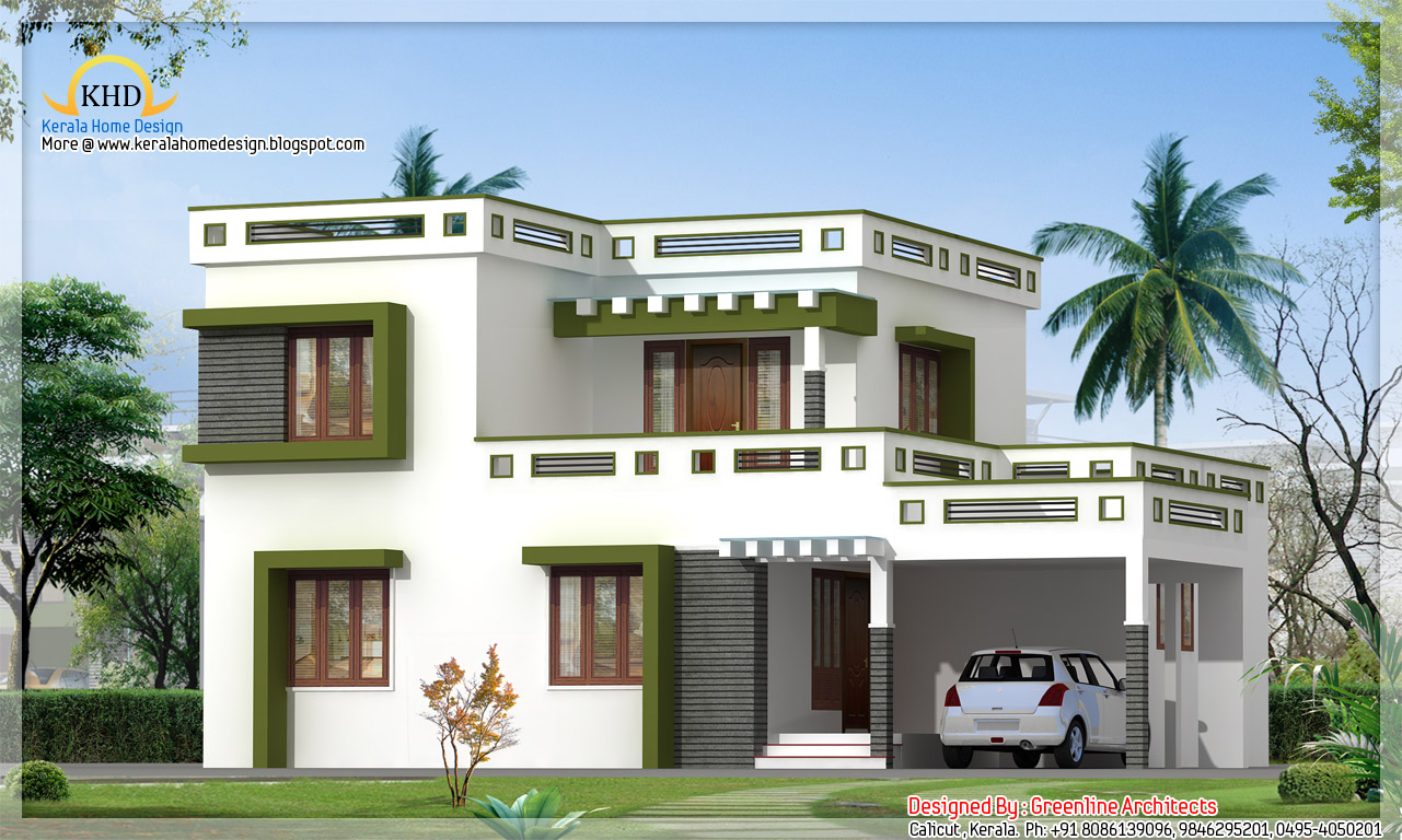 Modern square house design 1700 sq ft kerala home design and floor plans Modern home plans 2015