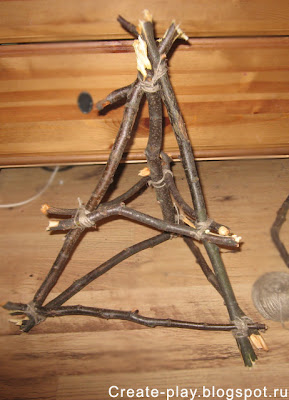 Каркас для ёлки из веток