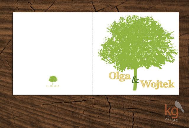 oryginalne zaproszenia ślubne, nietypowe zaproszenie na ślub, zawiadomienie o ślubie, motyw przewodni, drzewo, numery stołów, składane na pół, zielony, żółty, wiosenne,