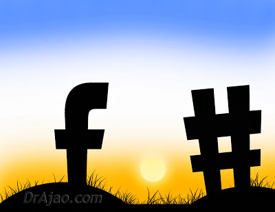 "Facebook ""F"" and Hashtag Silhouette facing sunset by Dr Ajao OlaWale"