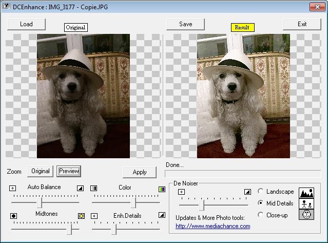 capture d'écran logiciel Free Digital Camera Enhancer