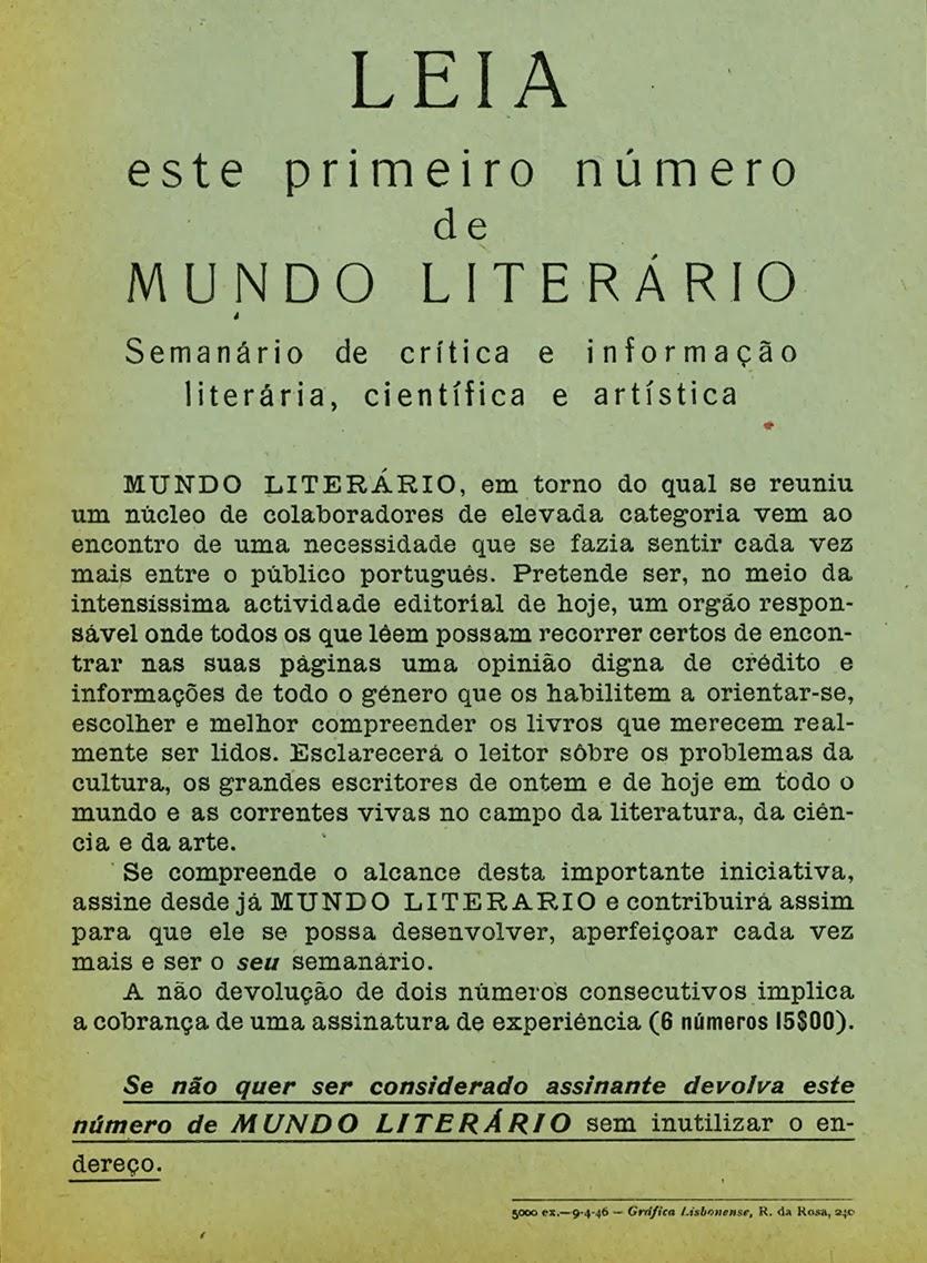Mundo Literário (n.º 1 - 11 Mai. 1946) imagem da Hemeroteca de Lisboa