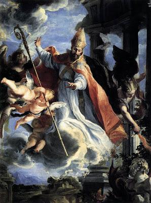 An la imagen San Agustin obispo rodeado por los angeles.