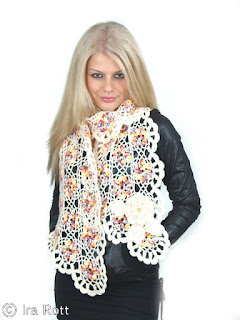 VOGUE FLOWER SCARF PDF CROCHET PATTERN