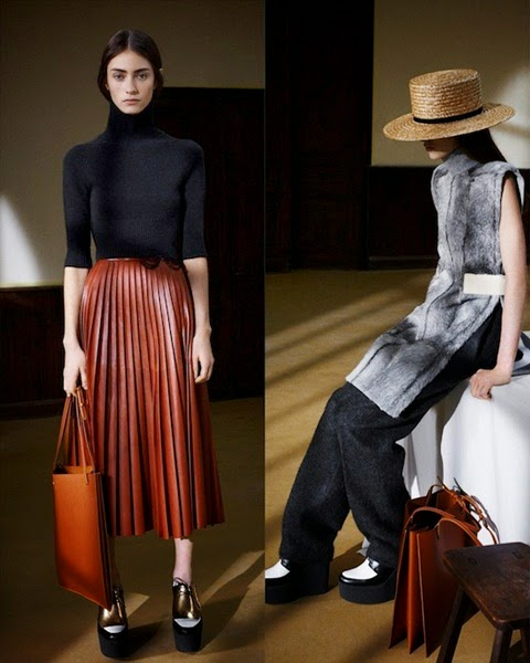 cf. Zara 2015 Fall Dark Red Leather Pleated Skirt