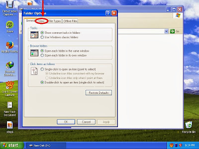 Learn how to disable show or don't show hidden files and folders in windowsXP step9