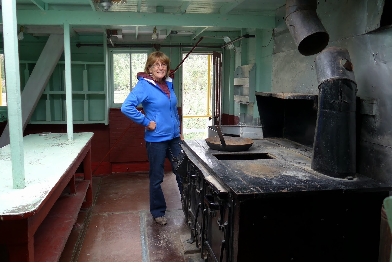 Liz in the kitchen of the SS Keno.