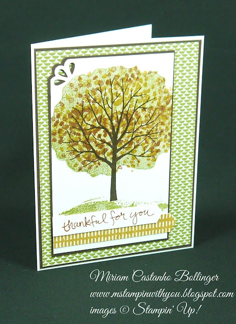 Miriam Castanho Bollinger, #mstampinwithyou, stampin up, demonstrator, ppa, thank you, pretty petals dsp, bohemian dsp, sheltering tree stamp set, curvy corner trio punch, su